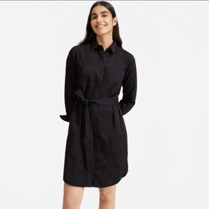 Everlane utility shirt dress belted black